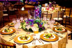 #Wedding table setting! of gorgeous purples, greens, and golds.  #pearlstable www.myhautewedding.com #wedding #tables #centerpieces @Infinity Video & Photo