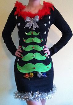 NEW Black Mustache Christmas tree bow present ugly sweater body con party dress Moustache Medium