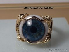 Bob's Fashion Jewelry 14k Yellow Gold Fill Wrap Blue Human Prosthetic Eye Ring #BobsFashionJewelry #Wrap