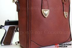 Concealment Purse Tote Bag Locking Brown Concealed Carry Gun Tote  Purse #172