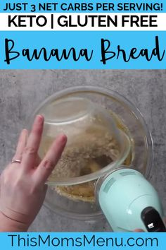 This Keto Banana Bread is exactly what you have been missing on your low carb diet! It makes the perfect low carb snack or quick keto breakfast. Try it with your favorite additions, like chocolate chips or chopped nuts. Best Keto Bread, Gluten Free Banana Bread, No Bread Diet, Paleo Bread, Paleo Snack, Keto Snacks, Diabetic Snacks, Paleo Food, Veggie Food