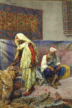 GIULIO ROSATI (1858-1917) 'At the Carpet Merchant