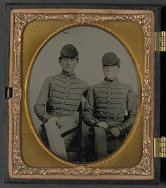Privates John James Audubon Powell(1846-1930) and Van Franklin Garrett(1846-1932) of Co. B, VMI Virginia Infantry Battalion, in uniforms of the Virginia Military Institute; hand colored ambrotype, unknown photographer;  part of the Liljenquist Family Collection of Civil War Photographs, LOC; Call Number:  AMB/TIN no. 3129[P&P]
