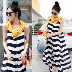 Novelty Plus size pregnant maternity clothing striped casual loose elegant fancy one piece long tank summer dress Free Shipping-inDresses from Apparel & Accessories on Aliexpress.com