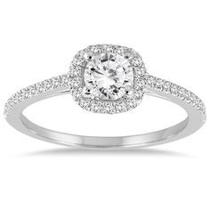 3/4 Carat Diamond Halo Engagement Ring, 14K White Gold