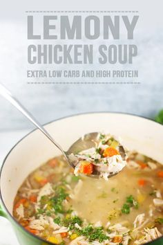 Low carb Lemony Chicken Soup - packed with veggies and rotisserie chicken breast- high protein, low carb, super low fat and still comfort food! #lillieeatsandtells #lillielovemacros #macrofriendly Lunch Recipes, Healthy Dinner Recipes, Low Carb Recipes, Cooking Recipes, Cooking Kale, Cooking Fish, Diet Recipes, Fat Burning Soup, Fat Burning Foods