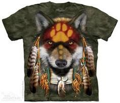 American Indian T-Shirt with Native Wolf Spirit design by Orlando Baca. Get The Mountain Native American T-Shirt Collection here we have the lowest prices. Native American T Shirts, Native American Wolf, American Symbols, Wolf T-shirt, Indian Wolf, Indian Face, Wolf Spirit Animal, Spirit Shirts, Tye Dye