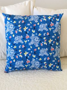 Blue Flowers - Pillow Cover - Swappillow Covers - Gift - Envelope Closure - Decorative Pillow Cover - 16x16 - Throw Pillow by KathyRyanDesigns on Etsy