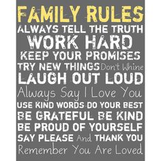 Family Rules Framed Wall Art in Gray
