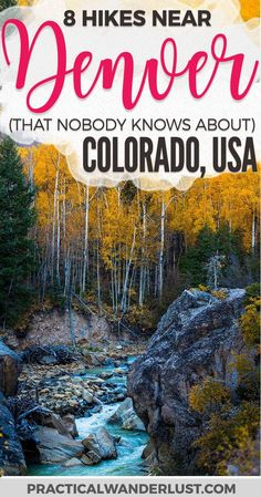 Luckily, there are a lot of beautiful hiking trails near Denver, Colorado that are totally undiscovered! Avoid the crowds and head to these hidden gem hiking trails near Denver. Hiking near Denver Colorado hiking trails USA Travel Estes Park Colorado, Vail Colorado, Boulder Colorado, Denver Colorado Hiking, Colorado Springs, Loveland Colorado, Littleton Colorado, Colorado Winter, Skiing Colorado