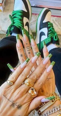 Colored French Tips, Glitter French Tips, French Tip Acrylic Nails, Colored Acrylic Nails, Long Acrylic Nails, Light Pink Nails, Green Nails, Spring Nails, Summer Nails