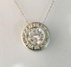 4.2CT Round Cut Russian Lab Diamond Solitaire Roman Numeral Necklace Birthday Graduation Wedding Anniversary