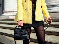 Yellow Blazer and Mini Skirt and Adax bag