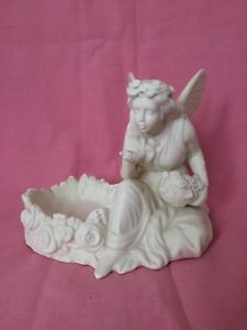 Partylite Porcelain Bisque Winged Fairy & Flowers Candle Holder Or Tea Light Tea Light Holder, Tea Lights, Garden Sculpture, Candle Holders, Wings, Porcelain, Fairy, Candles, Outdoor Decor