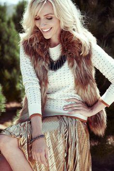 Faux fur and metallic skirt