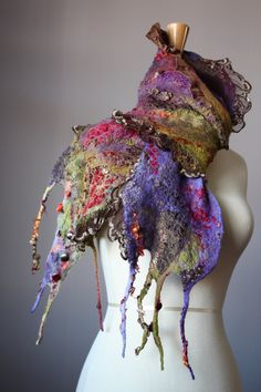 Nuno Felted scarf  Wool  Silk  .....vital temptation -truthfully, I have mixed feelings about this - love the colors, but the felting, not so much.....