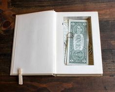 Hidden Piggy Bank Books: Hollow out one of your old books to hide your cash and other valuables. No one will ever guess your secret hiding place!  Source: Etsy user pommesfrites