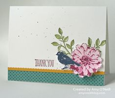 I needed to make a thank you card for my MIL, and since she is a big bird lover I knew I wanted her card to have a bird. That gave me an excuse to use one of my favorite stamp sets, Choose Happine. Embossed Cards, Choose Happiness, Stampin Up Cards, Thank You Cards, Cardmaking, Birthday Cards, Give It To Me, Greeting Cards, Paper Crafts