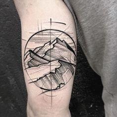 50 Geometric Mountain Tattoo Designs For Men – Geometry Ink Ideas Geometric Mountain Tattoo, Mountain Tattoo Design, Mountain Tattoos, Sketch Style Tattoos, Sketch Tattoo Design, Tattoo Sketches, Tattoos Pinterest, Tattoos For Guys, Cool Tattoos
