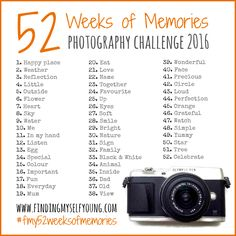 Finding Myself Young 52 weeks of memories weekly photography challenge 2016 prompts.