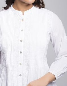 Cotton Pleated Chikankari embroidery Short Kurta