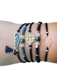Beaded bracelet, gemstone bracelet, friendship bracelet, macrame bracelet, boho bracelet, agate bracalet, jade bracelet, modern bracelet, gold gold bracelet, bracelet set, gift for girlfriend Beautiful beaded macrame bracelet with a central natural gemstone bead and crystal beads! You