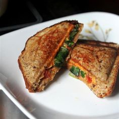 I usually put tomato in this, but never thought to put greens. Will definitely try this--the husband will love it. --Pia (Grilled Cheese Tomato & Kale Sandwiches /by Kitchen Grrrls. #vegan #recipe