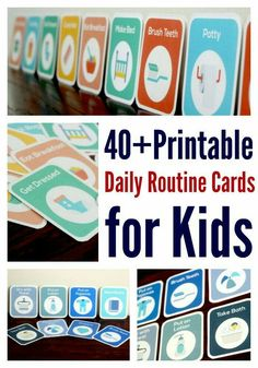 40+ printable daily routine cards for kids