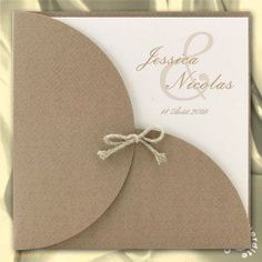 Invitación de boda Brown Pouch - - R galb - Anuncio de boda . Brown Wedding Invitations, Wedding Invitation Cards, Wedding Stationery, Wedding Cards, Wedding Gifts, Anniversary Cards, Invitation Design, Diy Gifts, Cardmaking