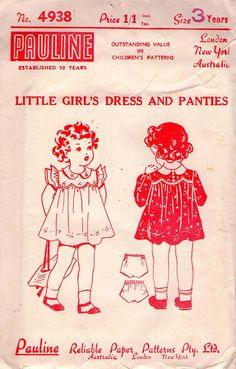 1940s Vintage/ Antique Sewing pattern -Girls Dress