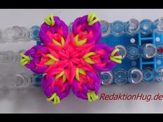 Loom Bands mit Rainbow Loom Anleitung Deutsch Blume K - Veronika Hug Rainbow Loom Tutorials, Rainbow Loom Patterns, Rainbow Loom Creations, Rainbow Loom Bands, Rainbow Loom Charms, Rainbow Loom Bracelets, Kumihimo Bracelet, Loom Band Bracelets, Loom Band Patterns