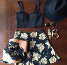 Boho chic, city chic, hippie, indie, hipster look. Black hat, black crop top, sunflower shorts, wedges, bangles. Summer look, summer, summer girl