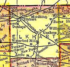 Elkhart County 1895 - The city of Goshen serves as the county seat. Elkhart County appears to have contained as many as six Underground Railroad stations, with the most prominent operated by the Hon. Charles L. Murray.