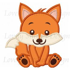Baby Fox Applique Machine Embroidery by LovelyStitchesDesign Fox Embroidery, Applique Embroidery Designs, Machine Embroidery Applique, Embroidery Patches, Applique Patterns, Applique Quilts, Quilt Patterns, Elephant Applique, Fox Decor