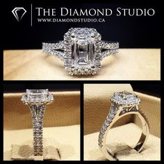 This is one of my personal favorite designs. Simple, classic with just the right amount of bling. The design was made with a 1.00ct + Emerald Cut diamond. The diamond sits on a cut cornered Italian pave halo. The shank splits and is set with diamonds also in an Italian pave setting. #diamond #diamonds #wedding #weddings #engagement #ring #rings #bride #brides #jewellery #jewelry #halo #emerald #diamondboi