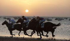 Andalusia, la tradizionale corsa dei cavalli sulla spiaggia