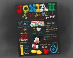 "Mickey Mouse Clubhouse ""Favorite Things"" Chalkboard Poster by NaVellaPartyBoutique,"