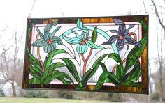 "34 75""L x 20 75"" Tiffany Style Beveled Stained Glass Window Panel Iris Flowers | eBay"