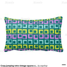 Crazy jumping retro vintage squares on cyan pillow