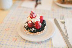 vanilje, bær, krem, pai