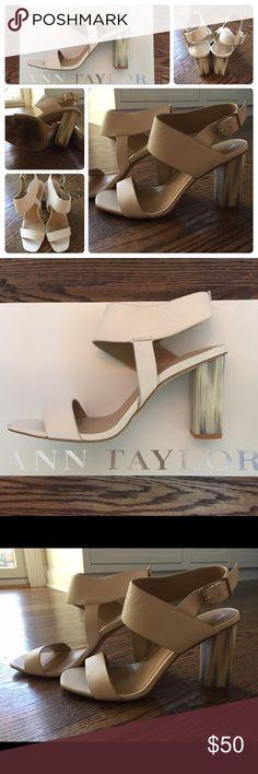 Ann Taylor Sandals Margo leather sandals. Wet stucco color. Worn once. Ann Taylor Shoes Sandals