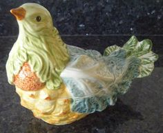 Italian Majolica Sauce Boat/Tureen and ladle - Game bird of ceramic vegetables  | eBay