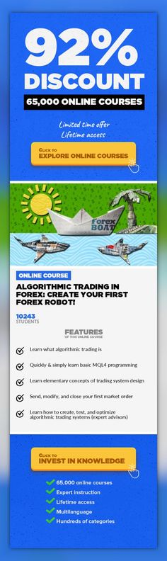 Algorithmic Trading In Forex: Create Your First Forex Robot! Finance, Business #onlinecourses #onlinecoursesmarketing #affordableonlinecollege  Trading With Forex Robots: Learn MQL4 Programming By Doing! Create Your First Algorithmic Trading System in MetaTrader 4 Latest News: Course Updated Again in July 2015 (MT4 Build 840+) Learn to program in MQL4 and develop, test, and optimize your own algor...