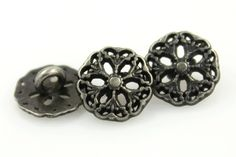 Medieval Filigree Metal Shank Buttons in Nickel Silver color - 9mm - 3/8 inch