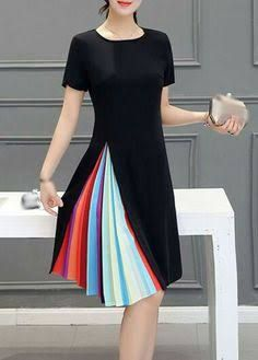 Little Black A Line Dress With Rainbow Pleated Side Detail. Have it zip up, so it can be just a black dress, then reveal the colors. Pretty Outfits, Pretty Dresses, Beautiful Dresses, Cute Outfits, Dress Skirt, Dress Up, Dress Long, Rose Dress, Look Fashion