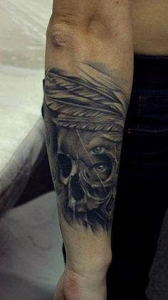 Native Half Skull Tattoo By Bacanu Bogdan #tattoo #cheltenham #cheltenhamtattoos #tattoos #realism #realistic #3D #black #grey #colour #skull #feathers #native #indian #feather #face #half #eye #popular #hot #for #guys #men #no #regrets #studio #noregretsstudio