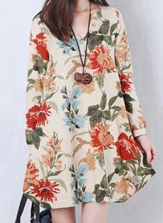 $12.67 Casual V-Neck Long Sleeve Floral Print Plus Size Irregular Hem Dress For Women