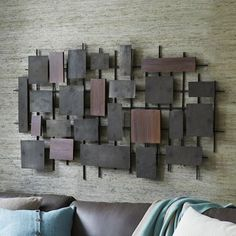 Hammered Metal + Wood Wall Art from West Elm. Saved to Decor for Dummies. Shop more products from West Elm on Wanelo. Wood Wall Art Decor, Metal Tree Wall Art, Metal Artwork, Wooden Wall Art, Wooden Walls, Metal Walls, Wood And Metal, Metal Grid, Wall Wood