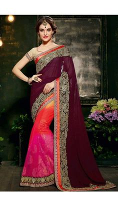 a15a0deb37e066 Brown Pink And Orange Net And Faux Georgette Saree With Brocade Blouse -  DMV10283 Mehndi Dresses