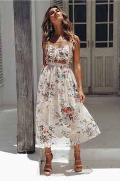 Floral bow tie backless midi dress – Jojo Like Sequin Midi Dress, Pink Midi Dress, Floral Print Maxi Dress, Prom Dress, Prom Gowns, Dress Outfits, Fashion Dresses, Diy Fashion, Spring Fashion